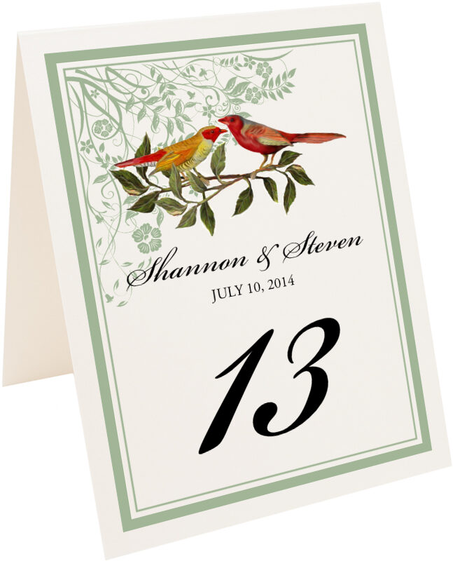 Photograph of Tented Two Red Birds - Windy Afternoon Table Numbers