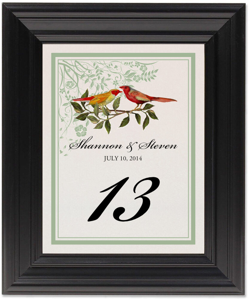 Framed Photograph of Two Red Birds - Windy Afternoon Table Numbers