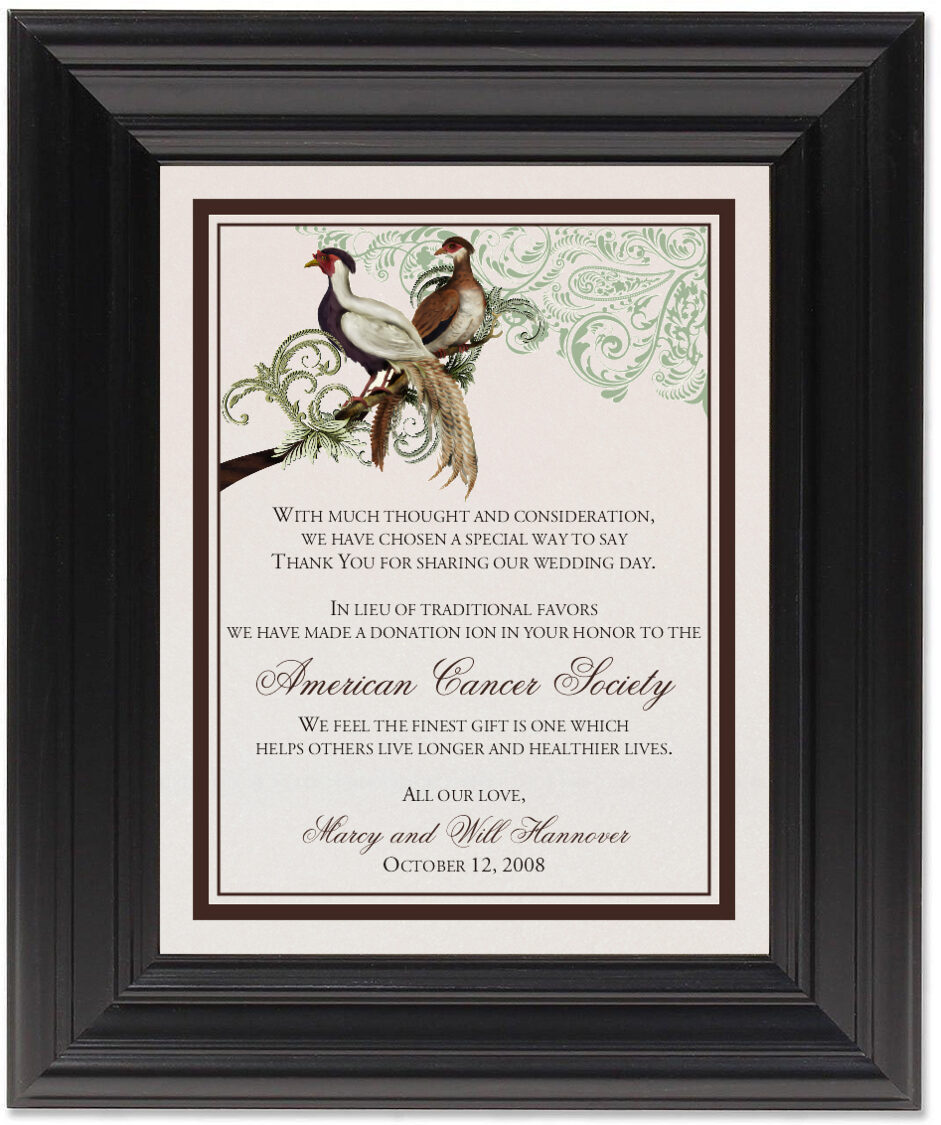 Framed Photograph of Asian Peace Birds Donation Cards