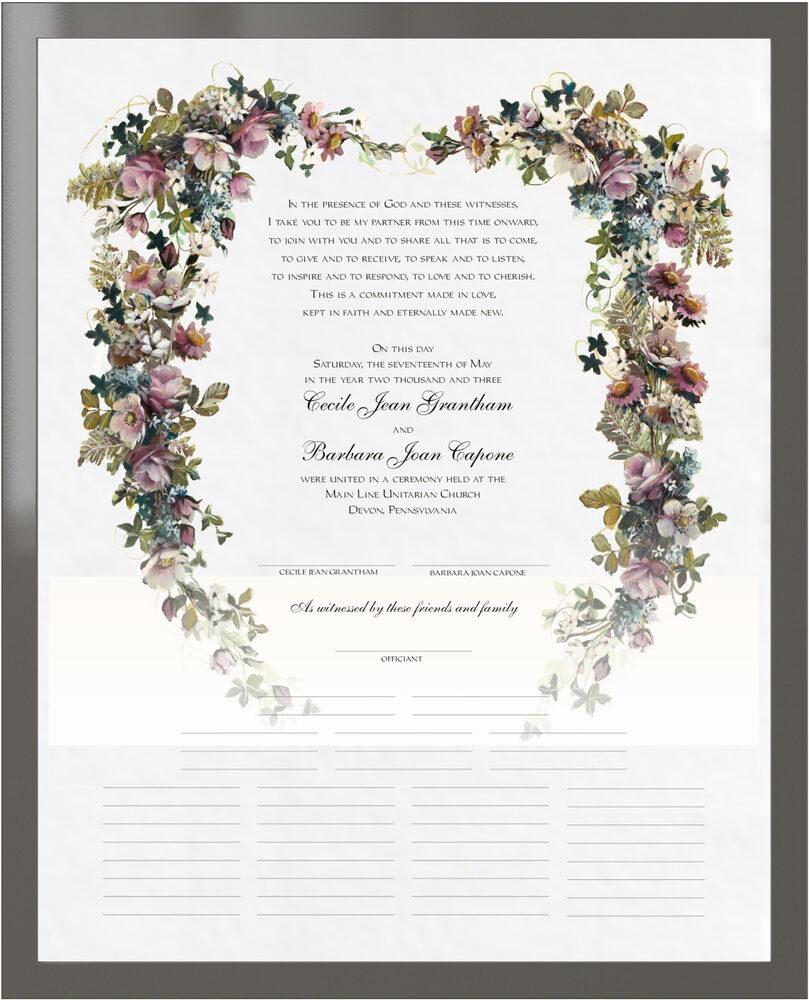 Photograph of Antique Pinks Heart Wedding Certificates