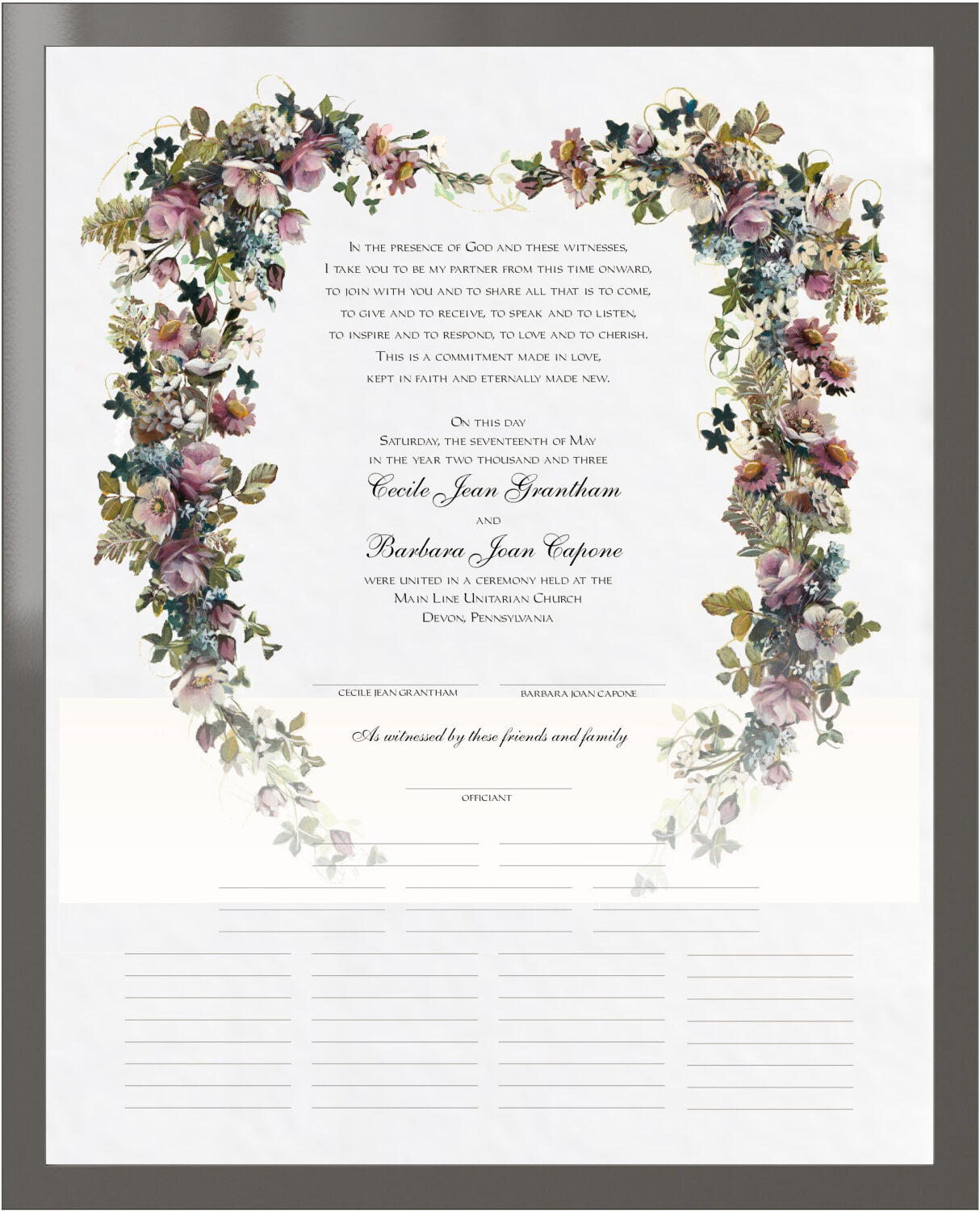Photograph of Antique Pinks Heart Wedding Certificates