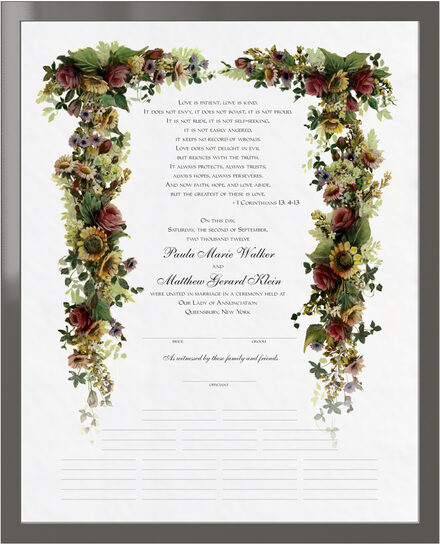 Photograph of Burgundy Roses and Sunflowers Wedding Certificates