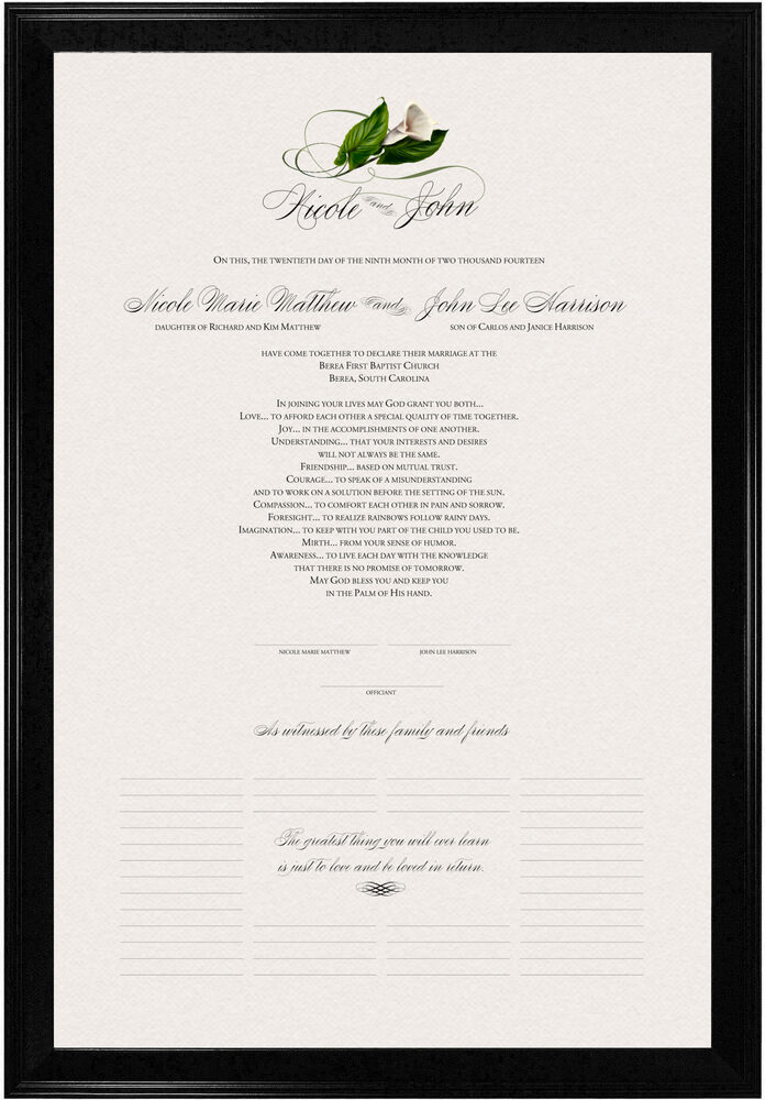 Photograph of Calla Lily Swirl 01 Wedding Certificates