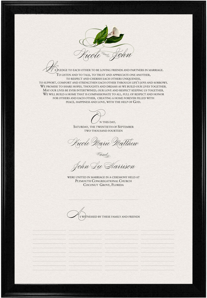 Photograph of Calla Lily Swirl 02 Wedding Certificates