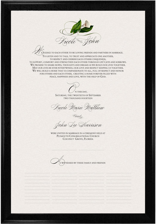 Photograph of Calla Lily Swirl 02 Wedding Certificates