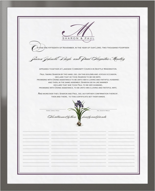 Photograph of Iris Bulb Wedding Certificates
