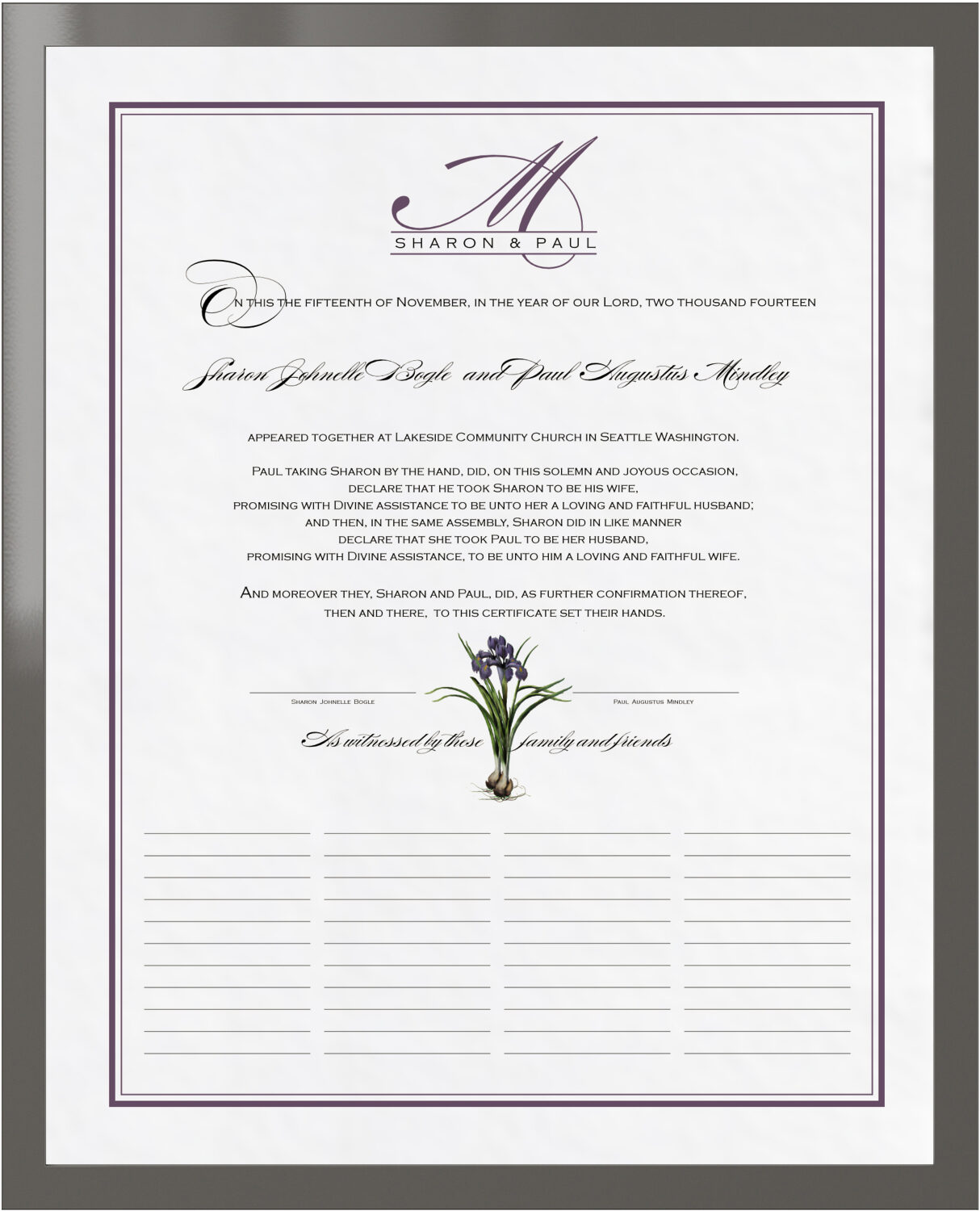 Photograph of Iris Bulb Wedding Certificates