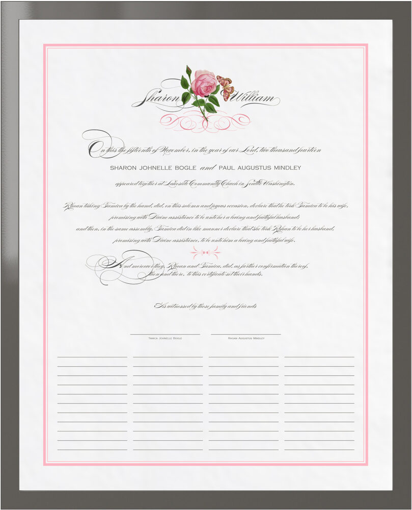 Photograph of Pink Tea Rose Wedding Certificates