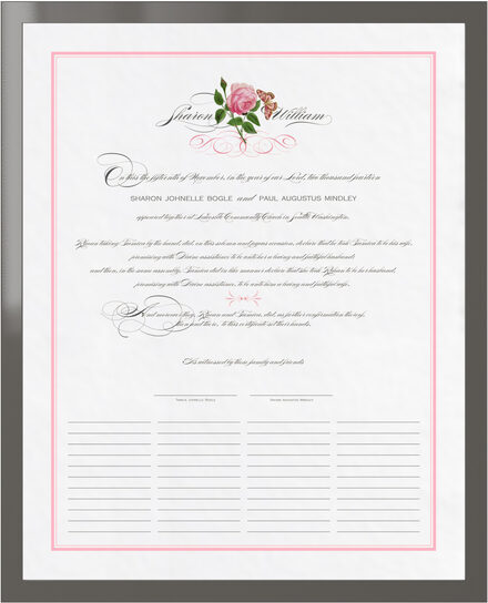 Photograph of Pink Tea Rose Wedding Certificates