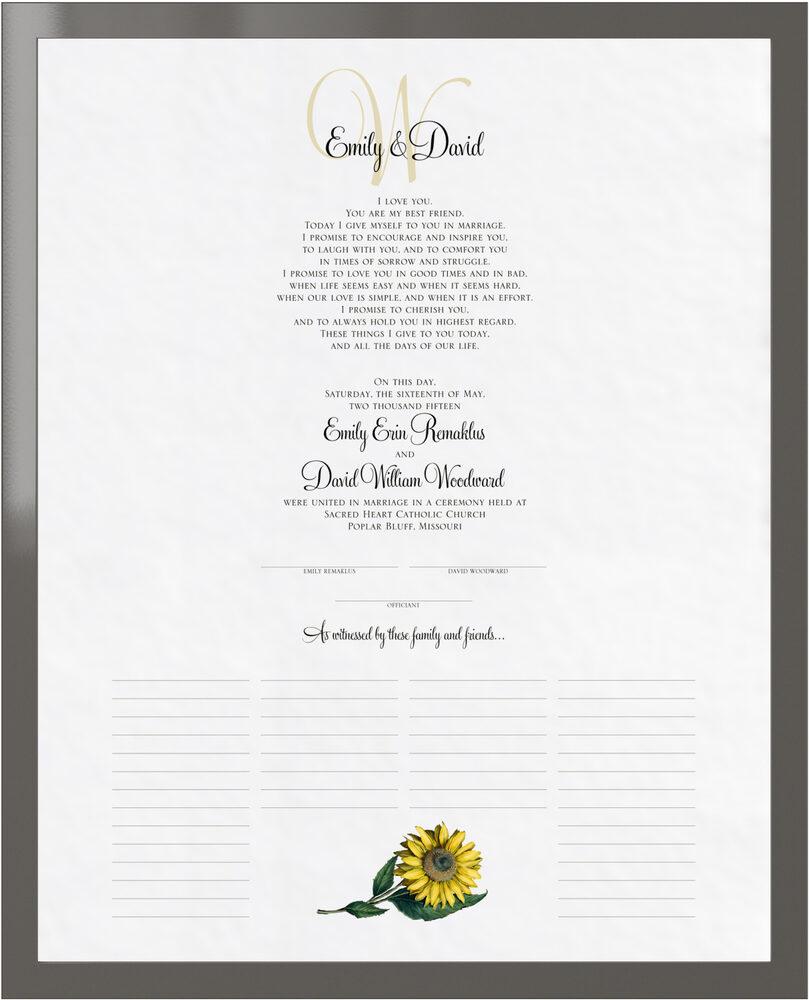 Photograph of Sunflower Wedding Certificates