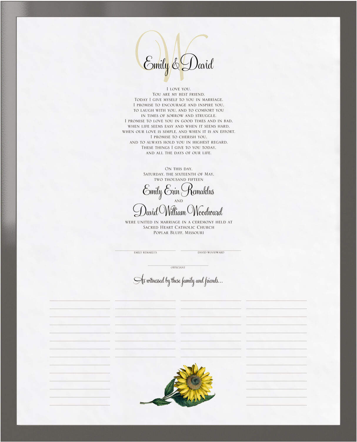 Photograph of Sunflower Wedding Certificates