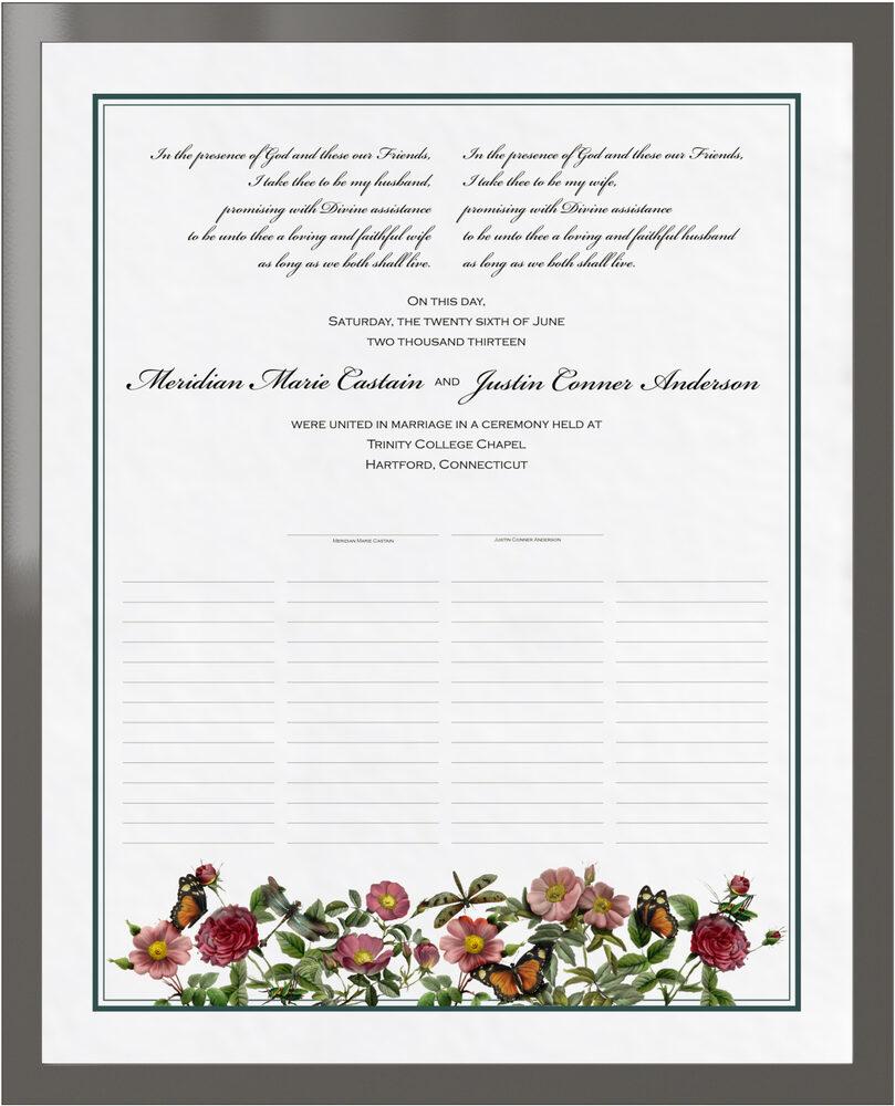 Photograph of Rose Garden Wedding Certificates