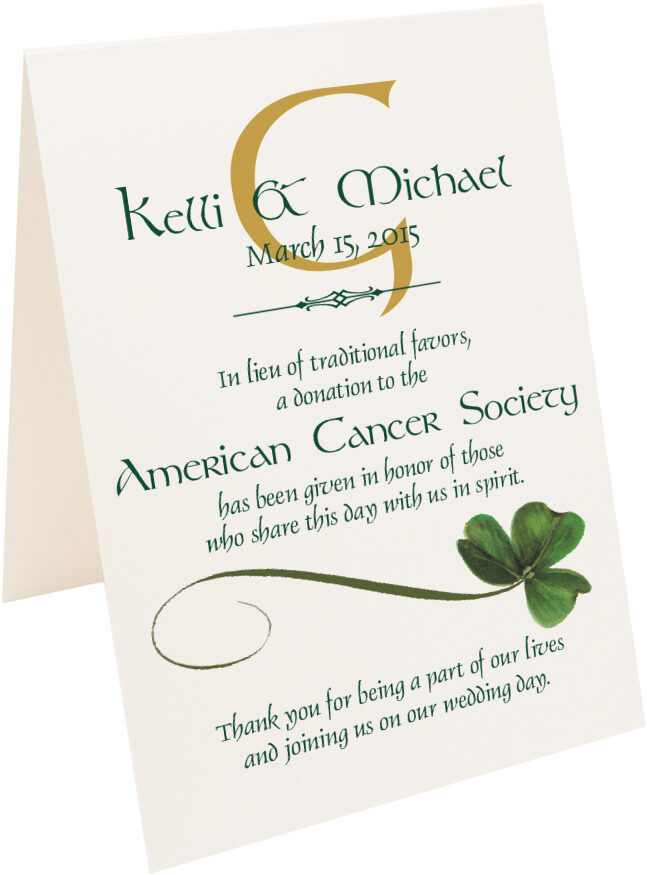 Photograph of Tented Wispy Shamrock Donation Cards