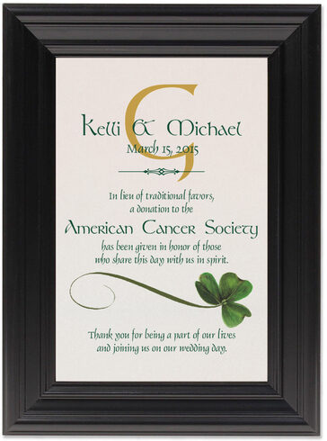 Framed Photograph of Wispy Shamrock Donation Cards