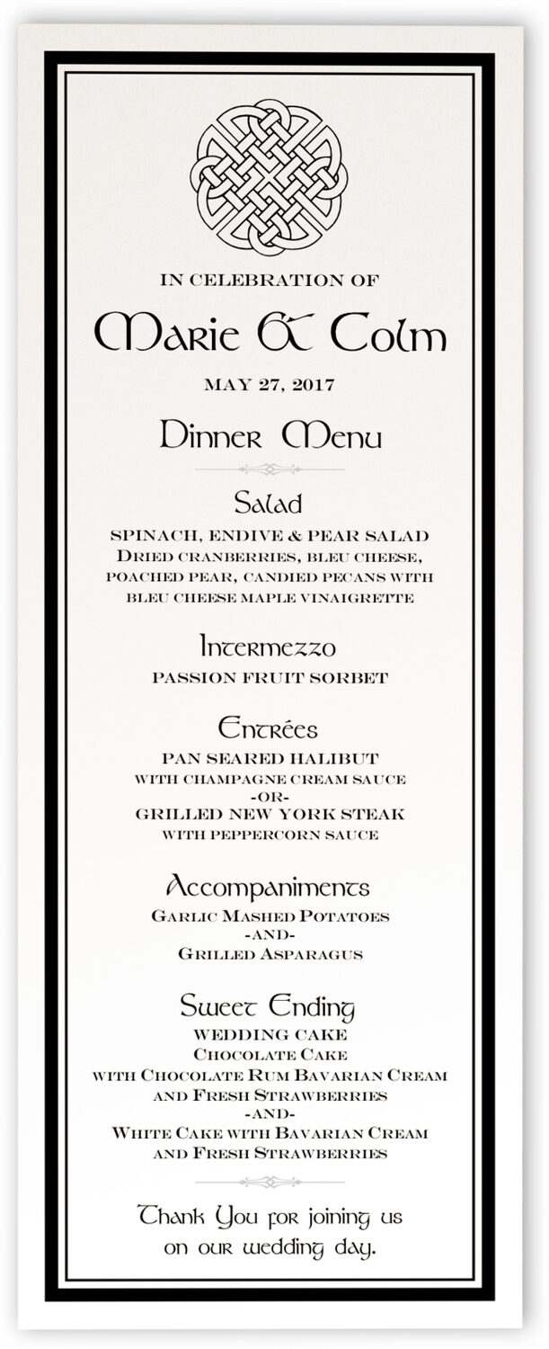 Photograph of Celtic Knot 01 Wedding Menus