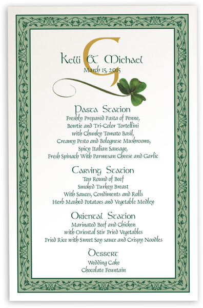 Photograph of Wispy Shamrock Wedding Menus