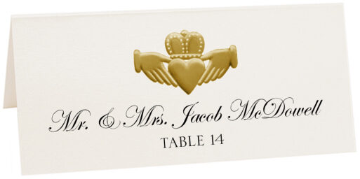 Photograph of Tented Gold or Silver Claddagh Place Cards
