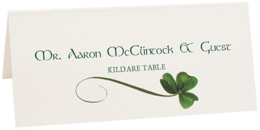 Photograph of Tented Wispy Shamrock Place Cards