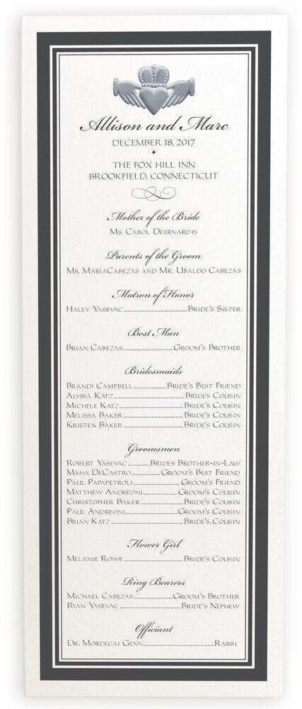 Photograph of Silver Claddagh Border Wedding Programs