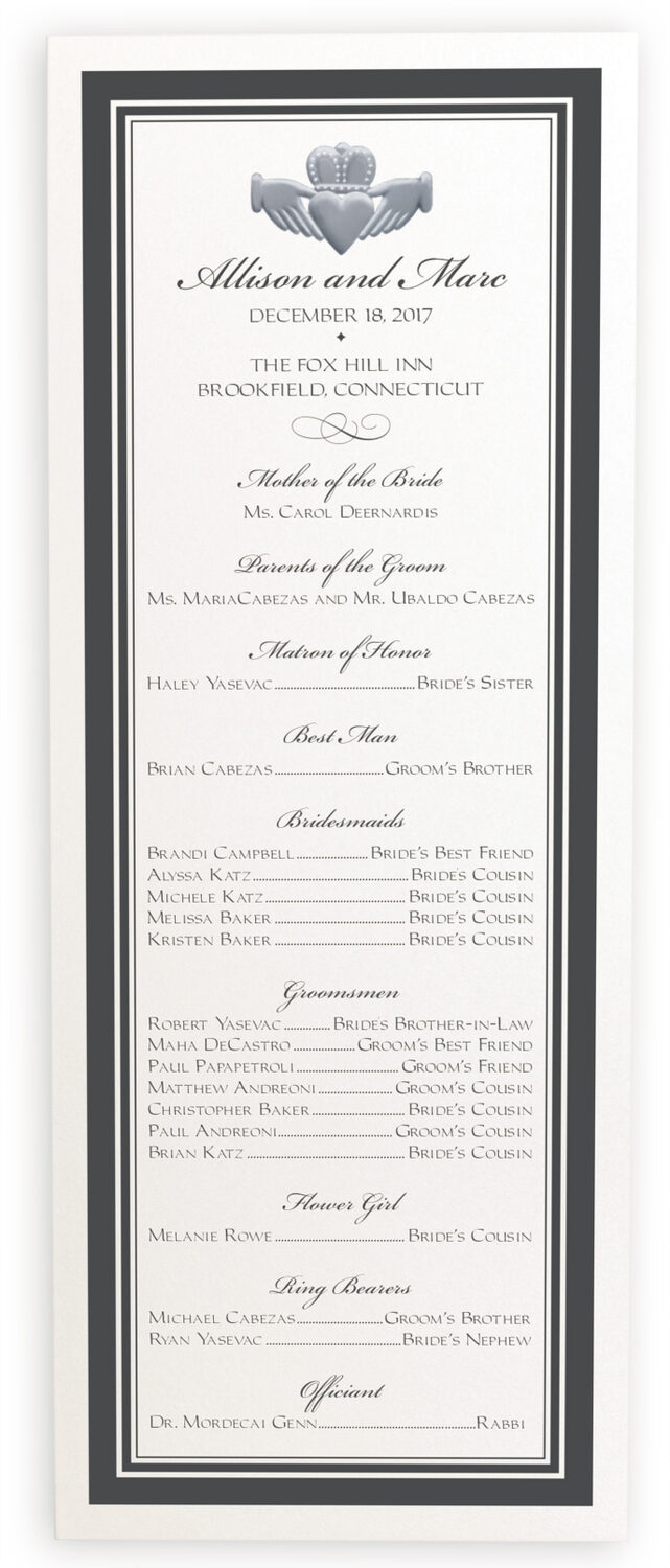 Photograph of Silver Claddagh Border Wedding Programs