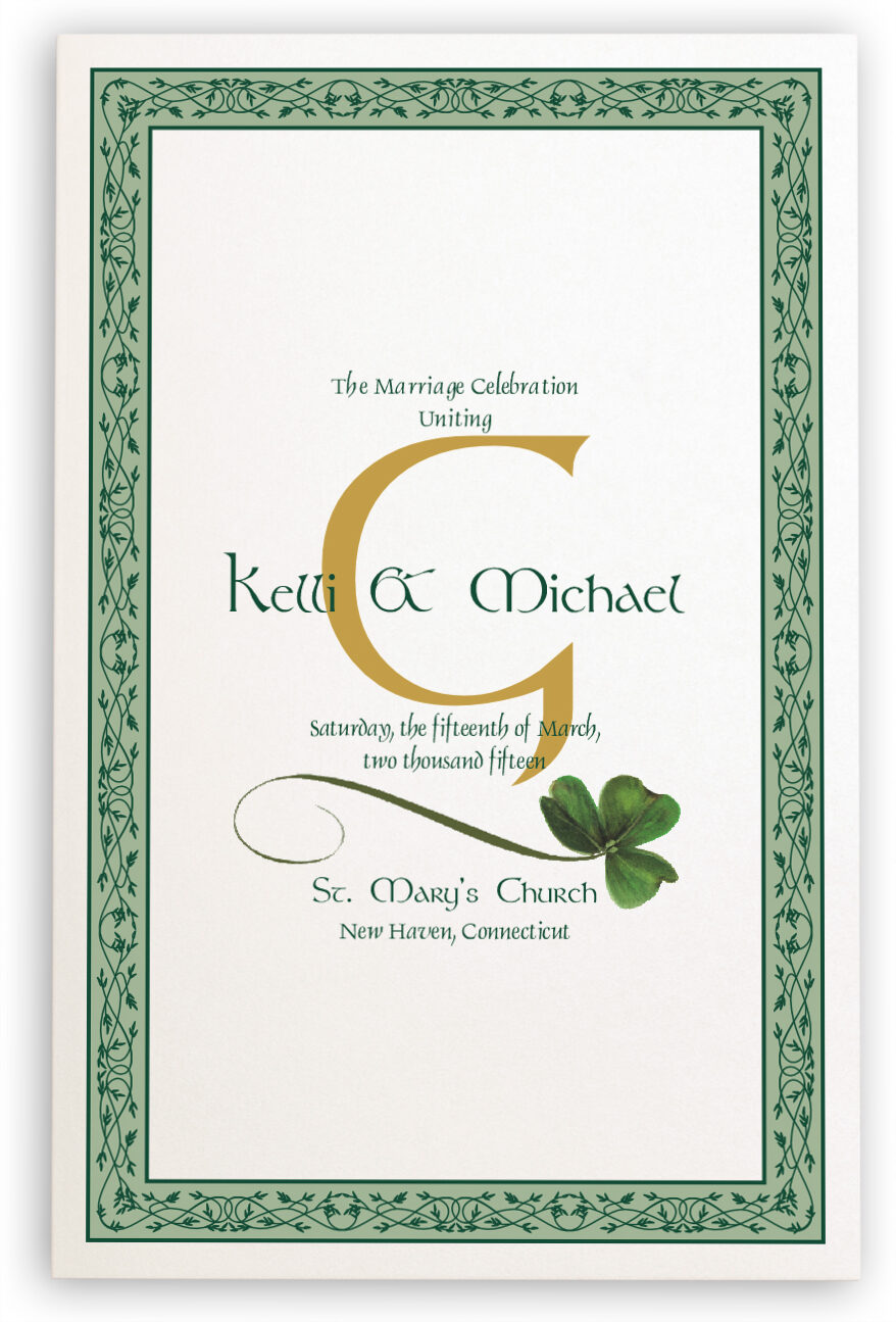 Photograph of Wispy Shamrock Wedding Programs