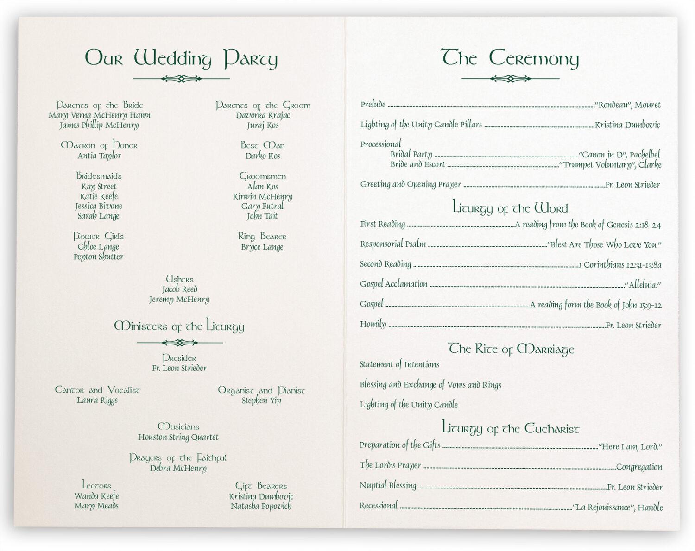 Photograph of Wispy Shamrock Wedding Programs
