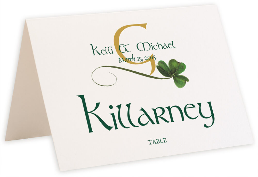 Photograph of Tented Wispy Shamrock Table Names