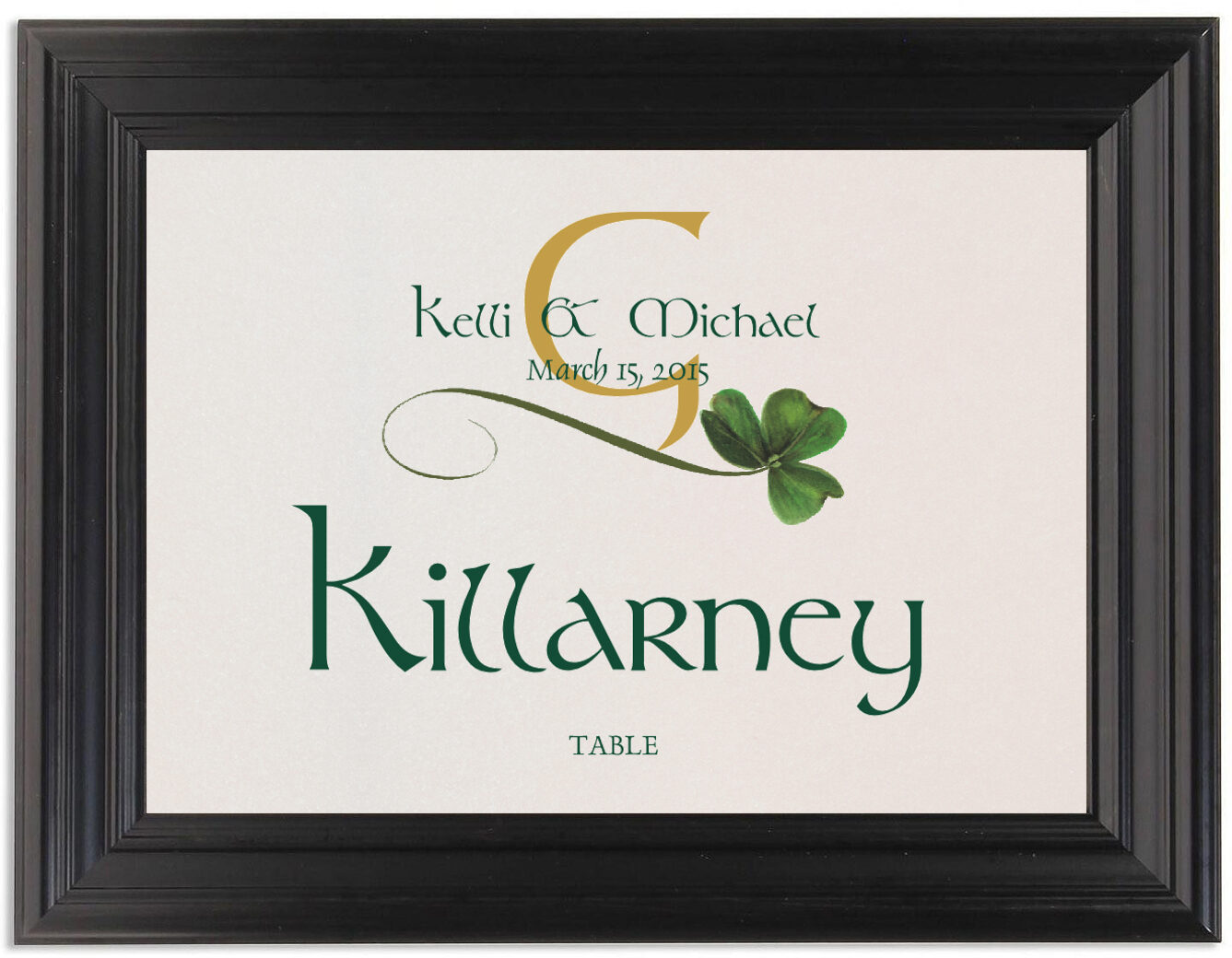 Framed Photograph of Wispy Shamrock Table Names