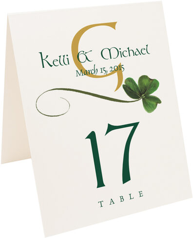 Photograph of Tented Wispy Shamrock Table Numbers