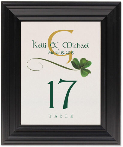 Framed Photograph of Wispy Shamrock Table Numbers