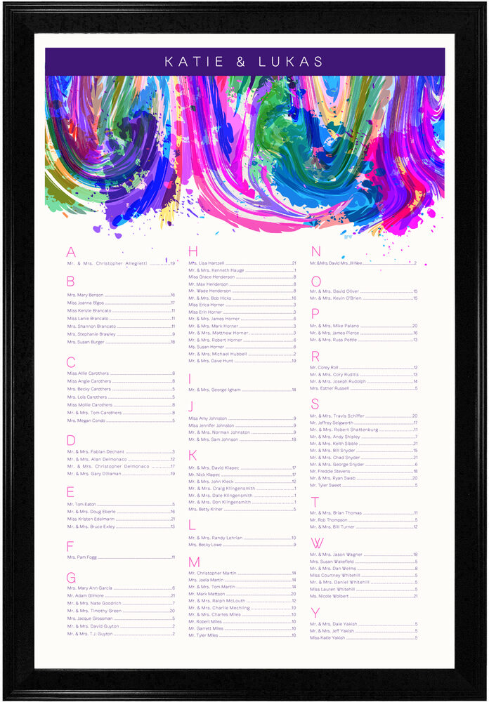 Photograph of Royal Blue & Purple Colorful Abstraction Seating Charts