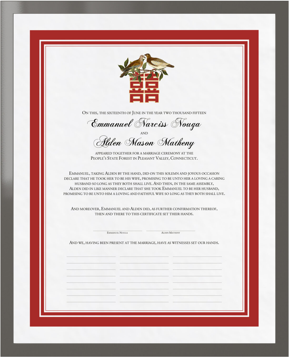 Two Birds Chinese Double Happiness Wedding Certificate