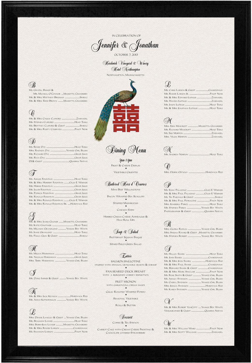 Photograph of Double Happiness Peacock Seating Charts