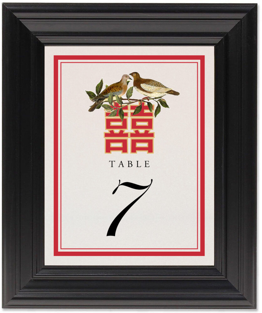 Framed Photograph of Happy Birds Table Numbers