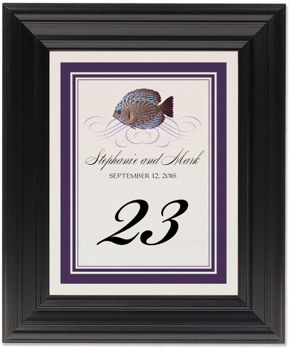 Framed Photograph of Blue Fish Superswirl Table Numbers