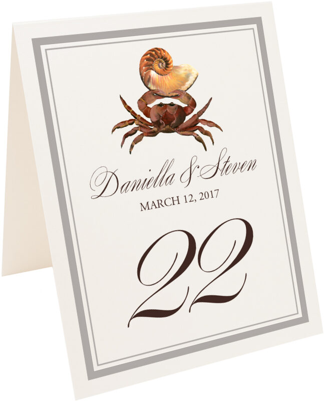 Photograph of Tented Crab Shell Table Numbers