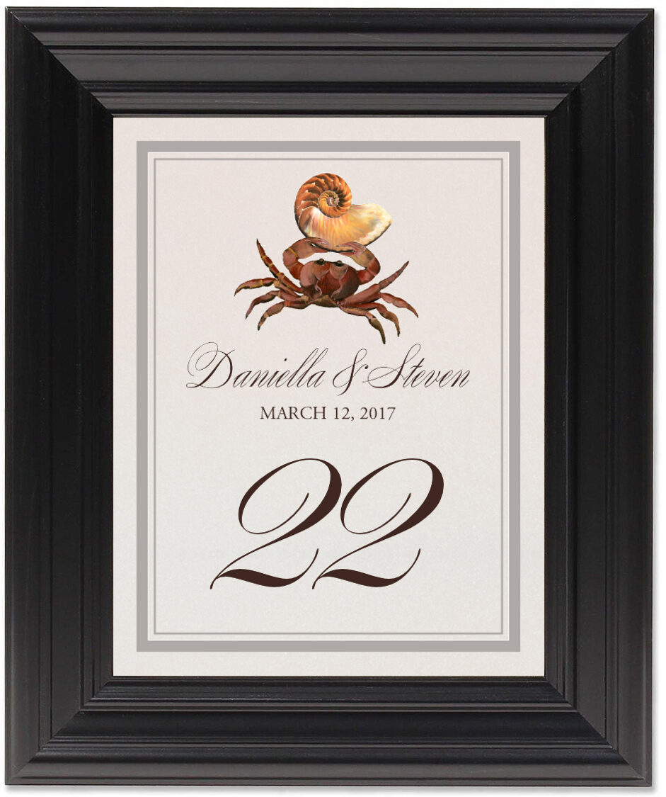 Framed Photograph of Crab Shell Table Numbers