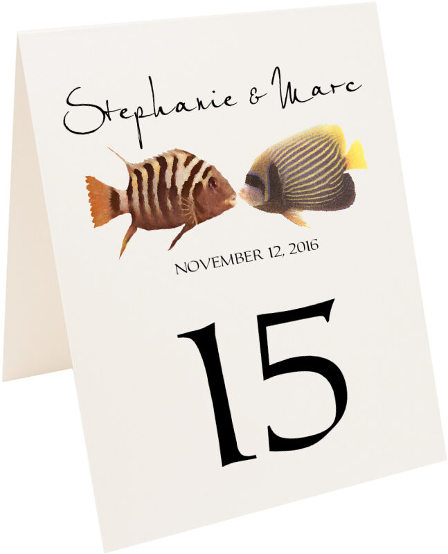 Photograph of Tented Kissing Fish Table Numbers
