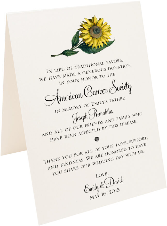 Photograph of Tented Sunflower Donation Cards