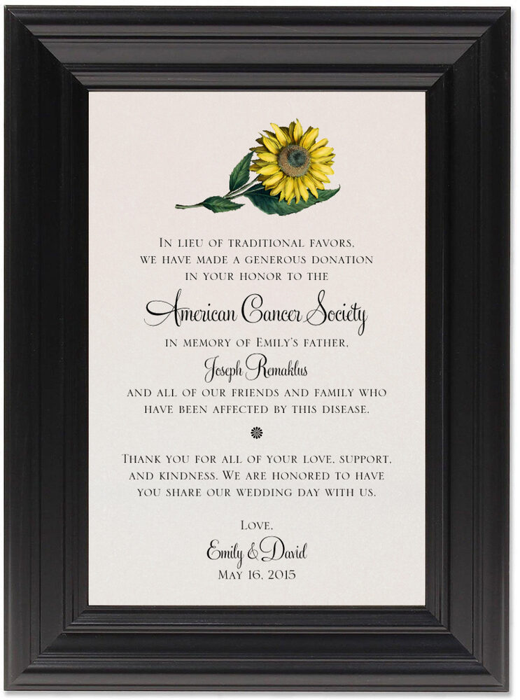 Framed Photograph of Sunflower Donation Cards