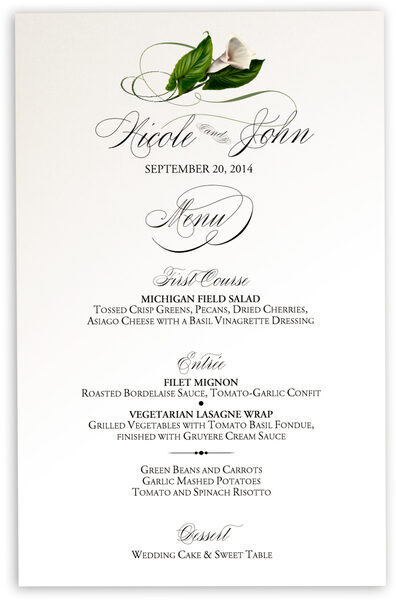 Photograph of Calla Lily Swirl 01 Wedding Menus