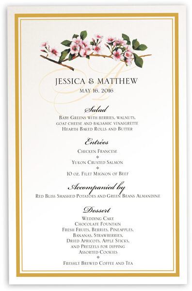 Photograph of Cherry Blossoms Wedding Menus
