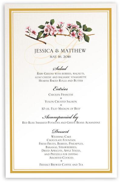 Photograph of Cherry Blossoms Wedding Menus