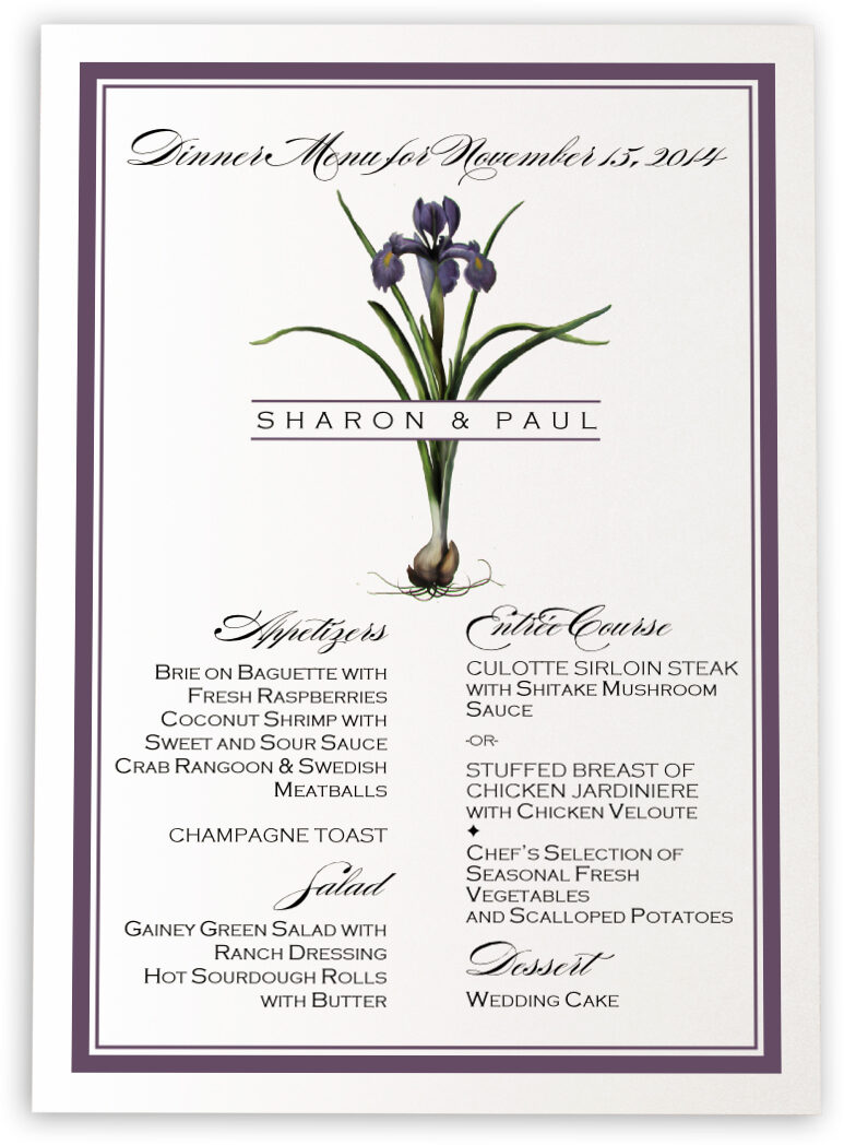 Photograph of Iris Bulb Wedding Menus