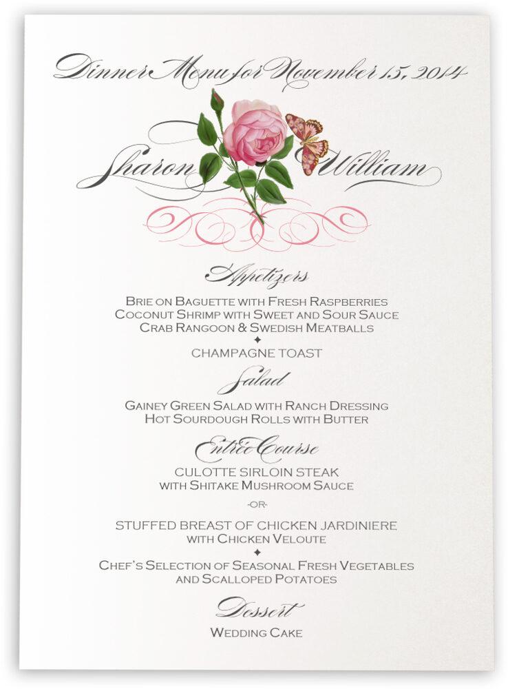 Photograph of Pink Tea Rose Wedding Menus