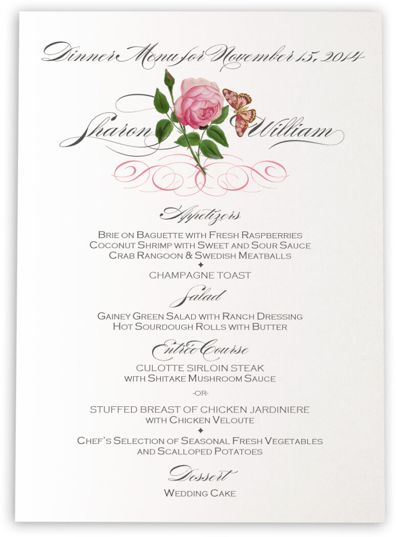 Wedding Menu Cards - Flower Graphics | Menu Card Custom Wedding Menu ...