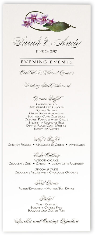 Photograph of Purple Calypso Orchid Wedding Menus