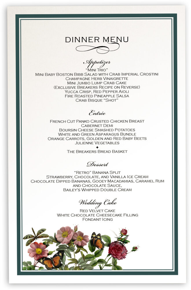 Photograph of Rose Garden 01 Wedding Menus