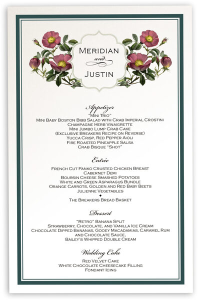 Photograph of Rose Garden 02 Wedding Menus