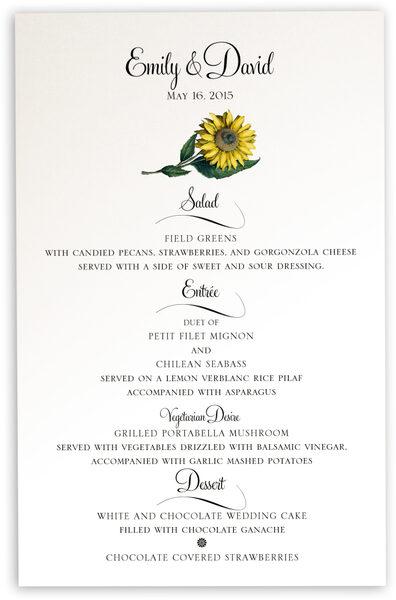 Photograph of Sunflower Wedding Menus